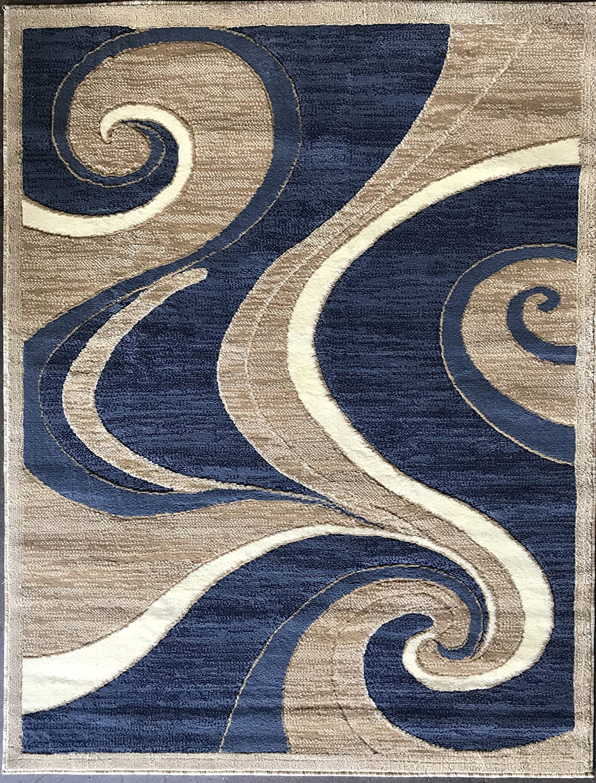 New item Tulsa Mall Americana Modern Area Rug Blue Beige Design X Swirl Feet 6 144