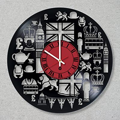 Vinyl Record Wall Clock UK Great Britain England London Wall decor United Kingdom City unique gift