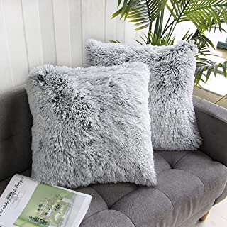 Best Uhomy 2 Packs Home Decorative Luxury Series Super Soft Faux Fur Throw Pillow Cover Cushion Case for Sofa or Bed Gray Ombre 18x18 Inch 45x45 cm Review