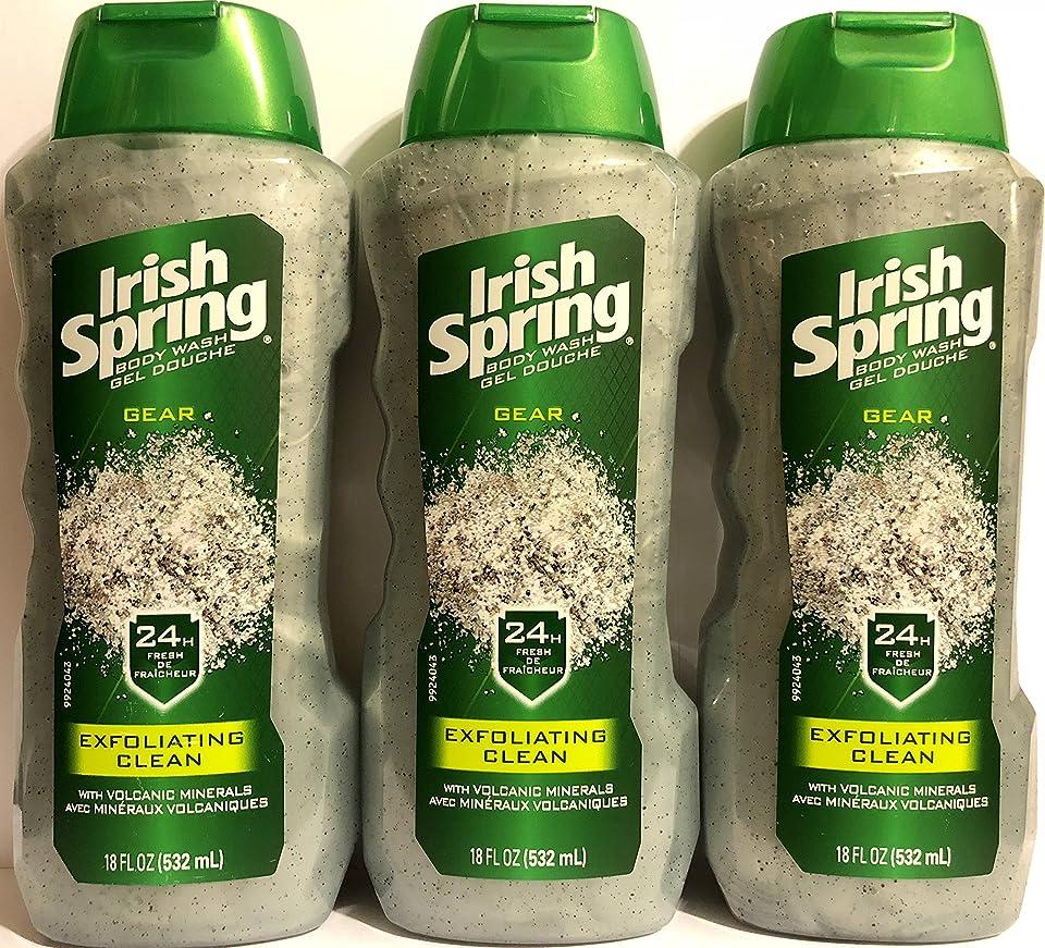 出口貪欲大胆なIrish Spring ギアボディウォッシュ - エクスフォリエイティングクリーン - 火山ミネラルを - ネット重量。ボトルパー18液量オンス(532 ml)を - 3本のボトルのパック