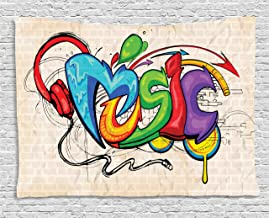 Ambesonne Music Tapestry, Illustration of Graffiti Style Lettering Headphones Hip Hop Theme on Beige Bricks, Wide Wall Hanging for Bedroom Living Room Dorm, 80