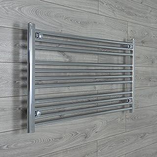 Radiador Toallero Térmico de Baño Cromado Plano Recto de 950mm ancho x 600mm alto para Calefacción Central
