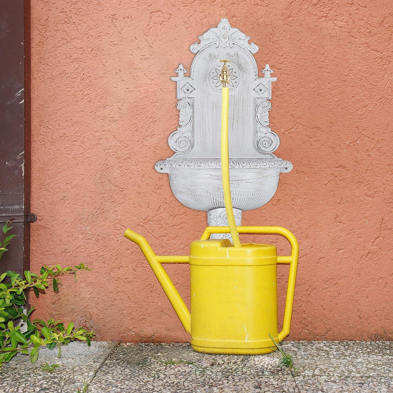 mit Wasserhahn wei/ß nostalgisch Relaxdays XL Wandbrunnen antik Aluguss Waschbecken Garten HBT 75 x 44 x 22 cm