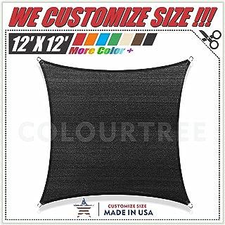 ColourTree 12' x 12' Black Sun Shade Sail Canopy Square UV Resistant Heavy Duty We Make Custom Size