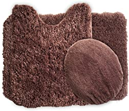 Lavish Home 3-Piece Super Plush Non-Slip Bath Mat Rug Set Chocolate