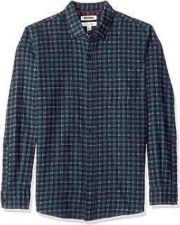 Marchio Amazon - Goodthreads, camicia da uomo, aderente, a maniche lunghe, motivo a quadretti, in mélange spazzolato