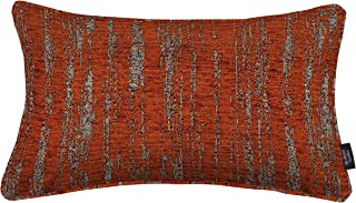 McAlister Textiles Textured Chenille Pillow Case | Burnt Orange Metalic Striped Pattern Designer Throw Scatter Sofa Lumbar Cushion | Accessory - 12 x 20 Inches