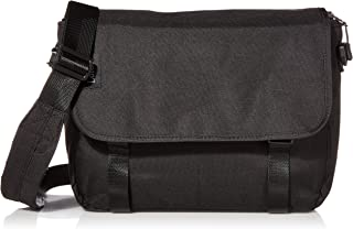 Loiee 14 inches Classic Canvas Mesenger Bag,Water Resistant Vintage School Bag,Black