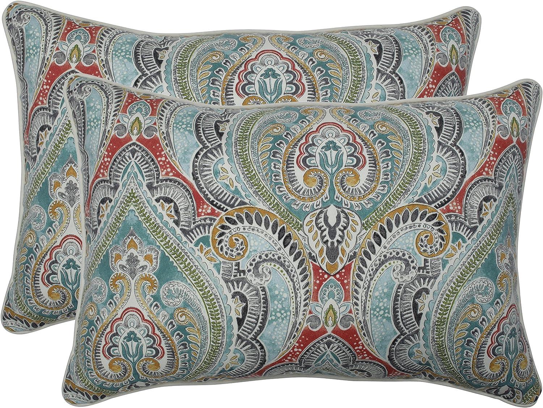 Pillow Perfect Outdoor Pillow, 621203, 100% T-Spun Polyester, bluee, 24.5  x 16.5  x 5
