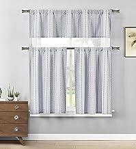 Home Maison - Kylie Striped Kitchen Window Curtain Tier & Valance Set, 2 Tiers 29 X 36 Inch | 1 Valance 58 X 15 Inch, Blue...