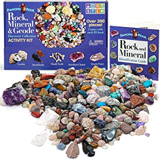Rock & Mineral Collection Activity Kit (200+Pcs) with Geodes, Shark Teeth Fossils, Arrowheads, Crystals, Gemstones for Kid...