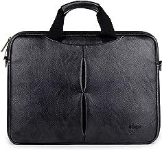 Vegan Leather Laptop Briefcase Computer Case Slim Business Executive Bag Shoulder Messenger Bags Briefcases Travel Bags Attache Satchel Men and Women 15.6 inch (Black)