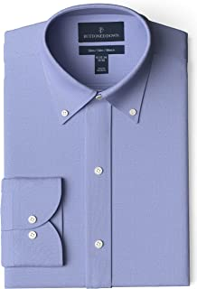 "Buttoned Down Men's Slim Fit Button-Collar Solid Non-Iron Dress Shirt (Pocket), Blue, 17.5"" Neck 32"" Sleeve"