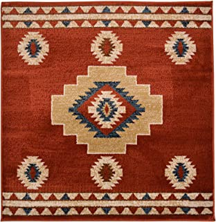 Nevita Collection Southwestern Native American Design Area Rug Rugs Geometric (Tribal Orange (Terra), 3 x 3)
