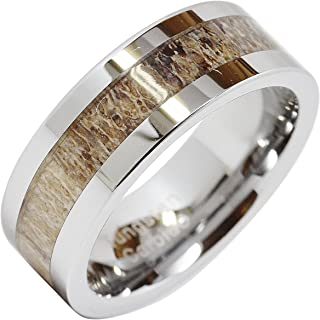 100S JEWELRY Tungsten Rings for Men Wedding Band Deer Antler Inlaid Hammer Flat Band Size 8-16