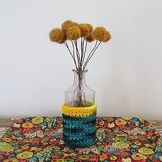 Dark Mustard Felt flowers. Wool pom pom flowers. Dijon Faux flower bouquet. Craspedia floral arrangement. Felt balls. Round fake flower