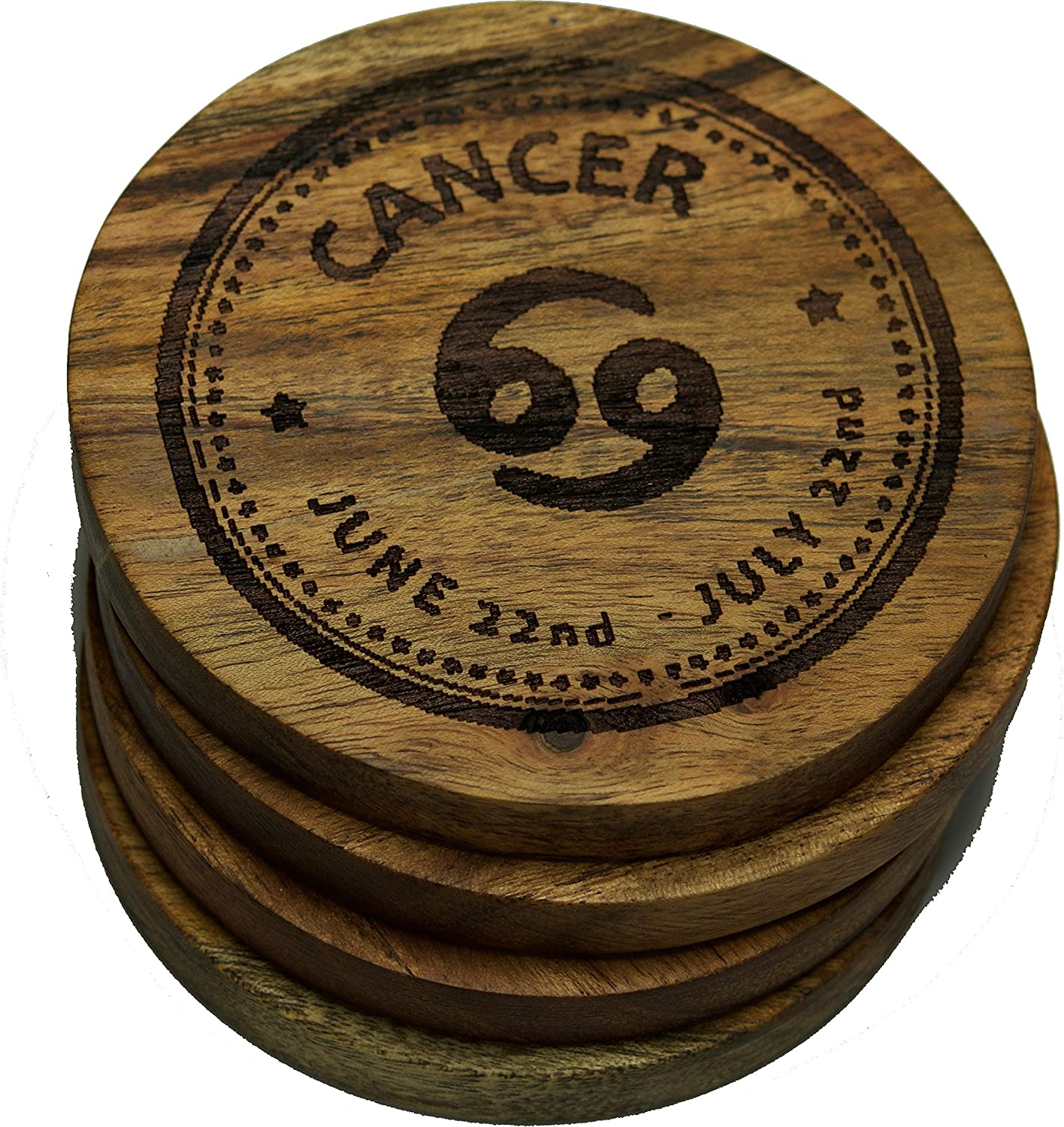 Custom Anniversary Gift Home Kitchen Decor Gemini Zodiac Sign Drink Coaster Set Engraved Astrological Signs Acacia Wooden Coasters