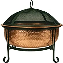 """Global Outdoors 26"""" Genuine Copper Fire Pit with Screen, Cover and Safety Poker"""