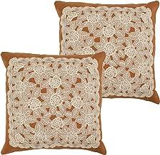 Creative Home Ideas Gretta 18 x 18 in. Set of 2 Lace & Embroidery Applique Pillow Covers w/Zipper Closure, Rust