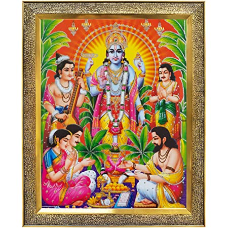 Koshtak Sri Satyanarayan Swamy Vishnu Avatar Giving Blessing Photo Frame with Unbreakable Glass for Wall Hanging/Gift/Temple/puja Room/Home Decor and Worship