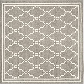 Safavieh Amherst Collection AMT414R Dark Grey and Beige Indoor/ Outdoor Square Area Rug (5' Square)