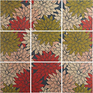 9-Piece Floral Red and Green Art Print Mural on Wood, 48