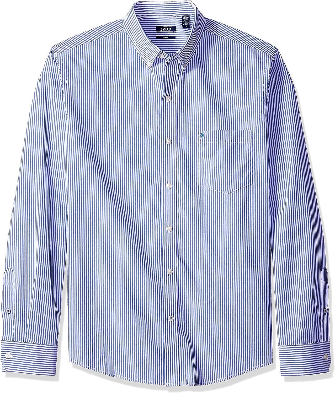 IZOD Men's Slim Fit Premium Essentials Long Sleeve Button Down Stripe Shirt