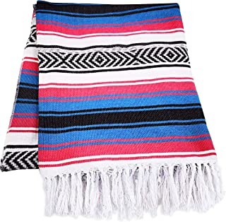 Mexican Blanket, Falsa Blanket | Authentic Hand Woven Blanket, Serape, Yoga Blanket | Perfect Beach Blanket, Navajo Blanke...