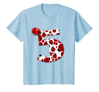 Amazon.com: Kids Cute Ladybug 5 year old quinto cumpleaños ...