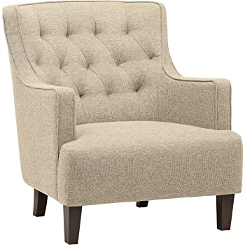 """Amazon Brand – Stone & Beam Decatur Modern Tufted Wingback Living Room Accent Chair, 32.3""""W, Oatmeal"""