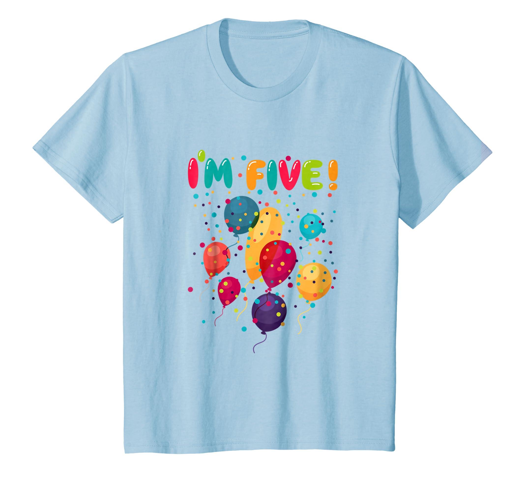 Amazon Kids Happy 5 Fifth Birthday Party Balloons T Shirt Clothing