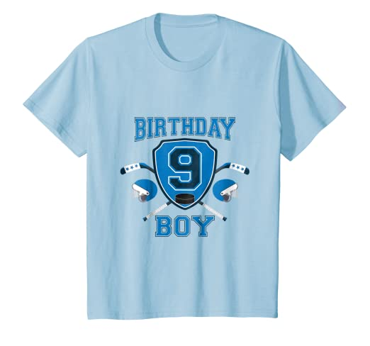 Amazon Kids 9th Ninth 9 Nine Years Happy Birthday Boy Hockey T