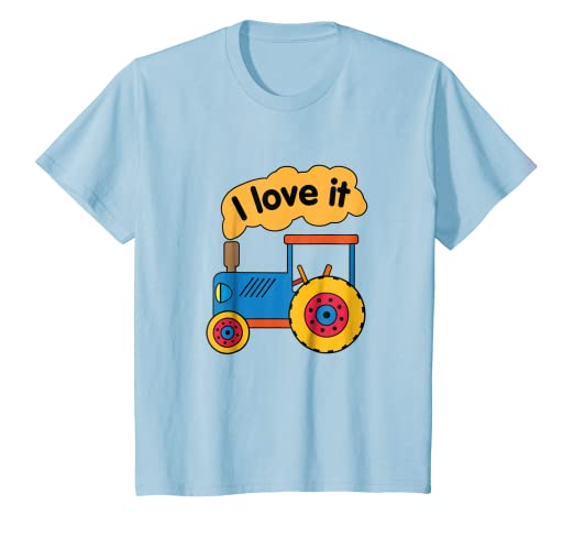 194fce240 Image Unavailable. Image not available for. Color: Kids BLUE TRACTOR I LOVE  IT GIFT T Shirt ...