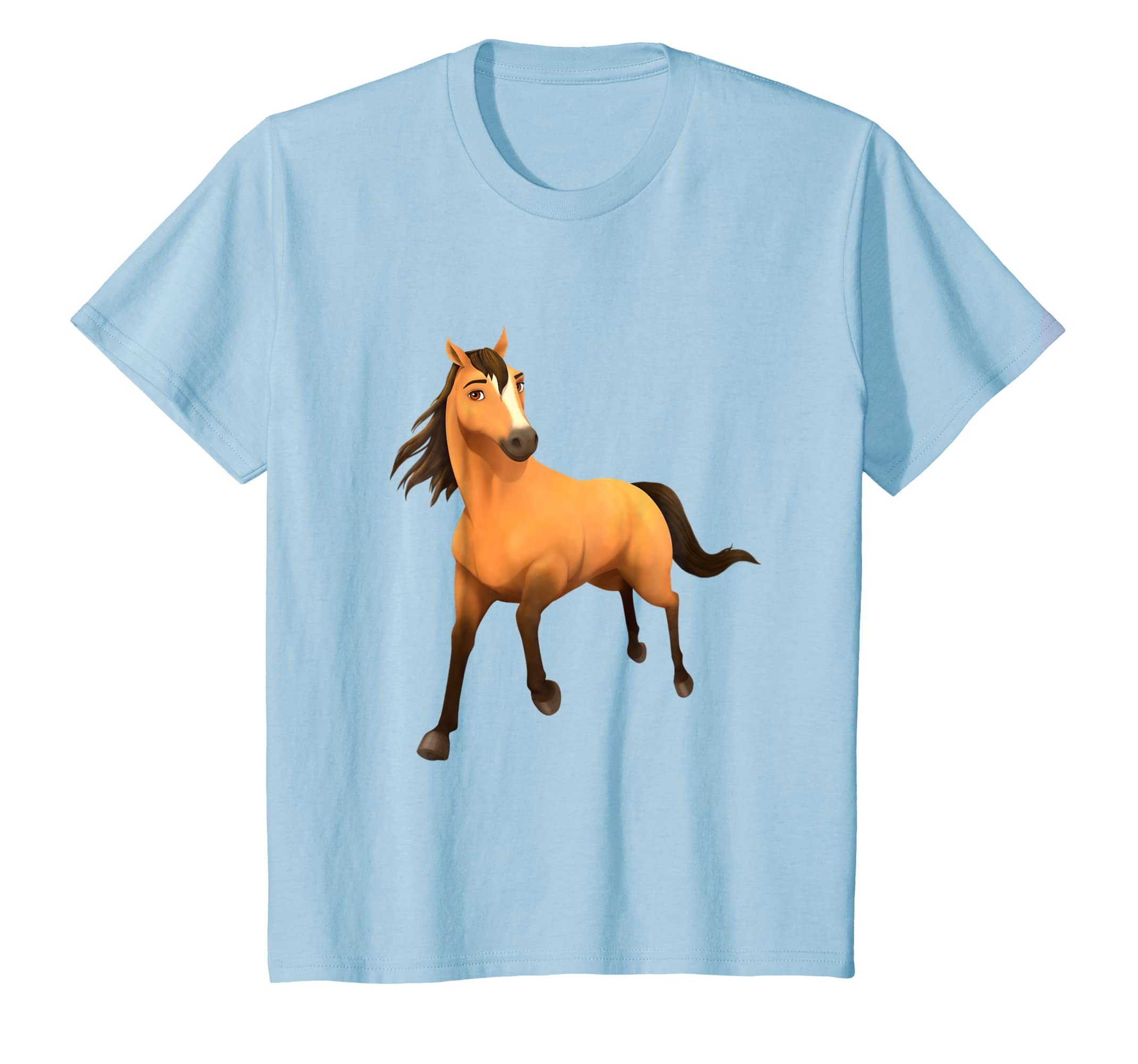 87a130255 Amazon.com: Kids DreamWorks Spirit Riding Free - Spirit Horse T-Shirt:  Clothing