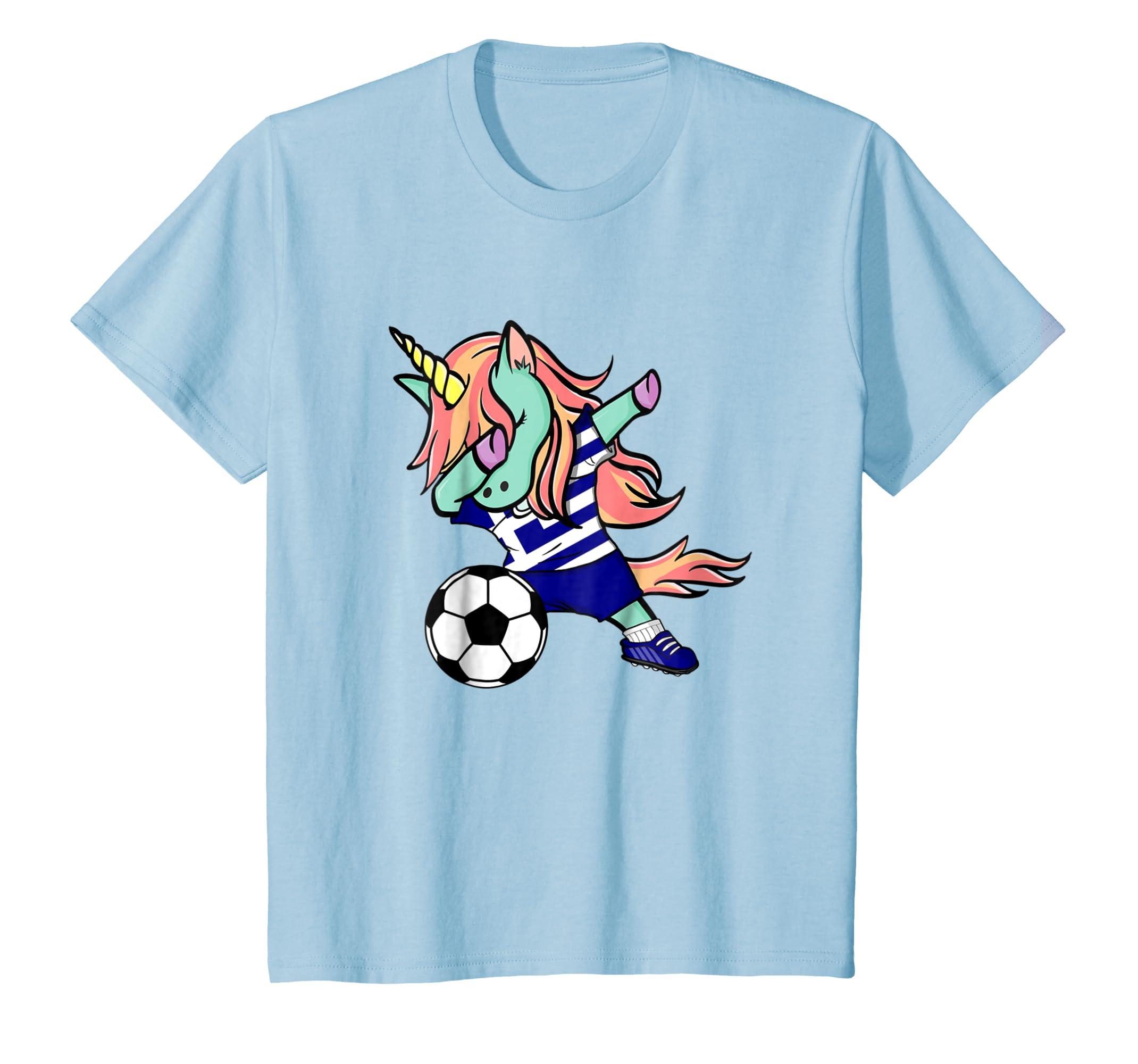 Amazon.com  Dabbing Unicorn Soccer Greece Jersey Shirt Greek Football   Clothing edb9adb5f