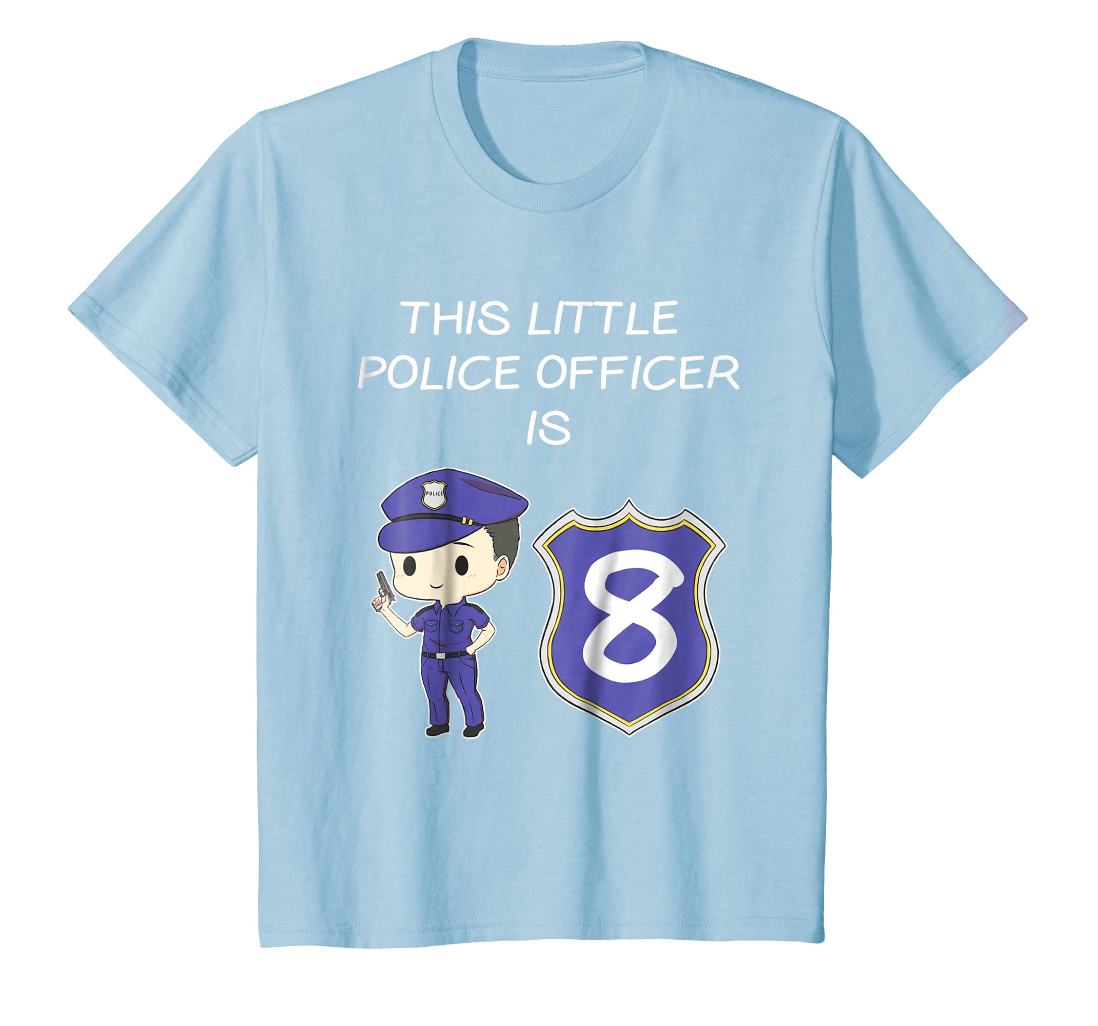 Amazon This Little Police Officer Is 8 Years Old Birthday T Shirt Clothing