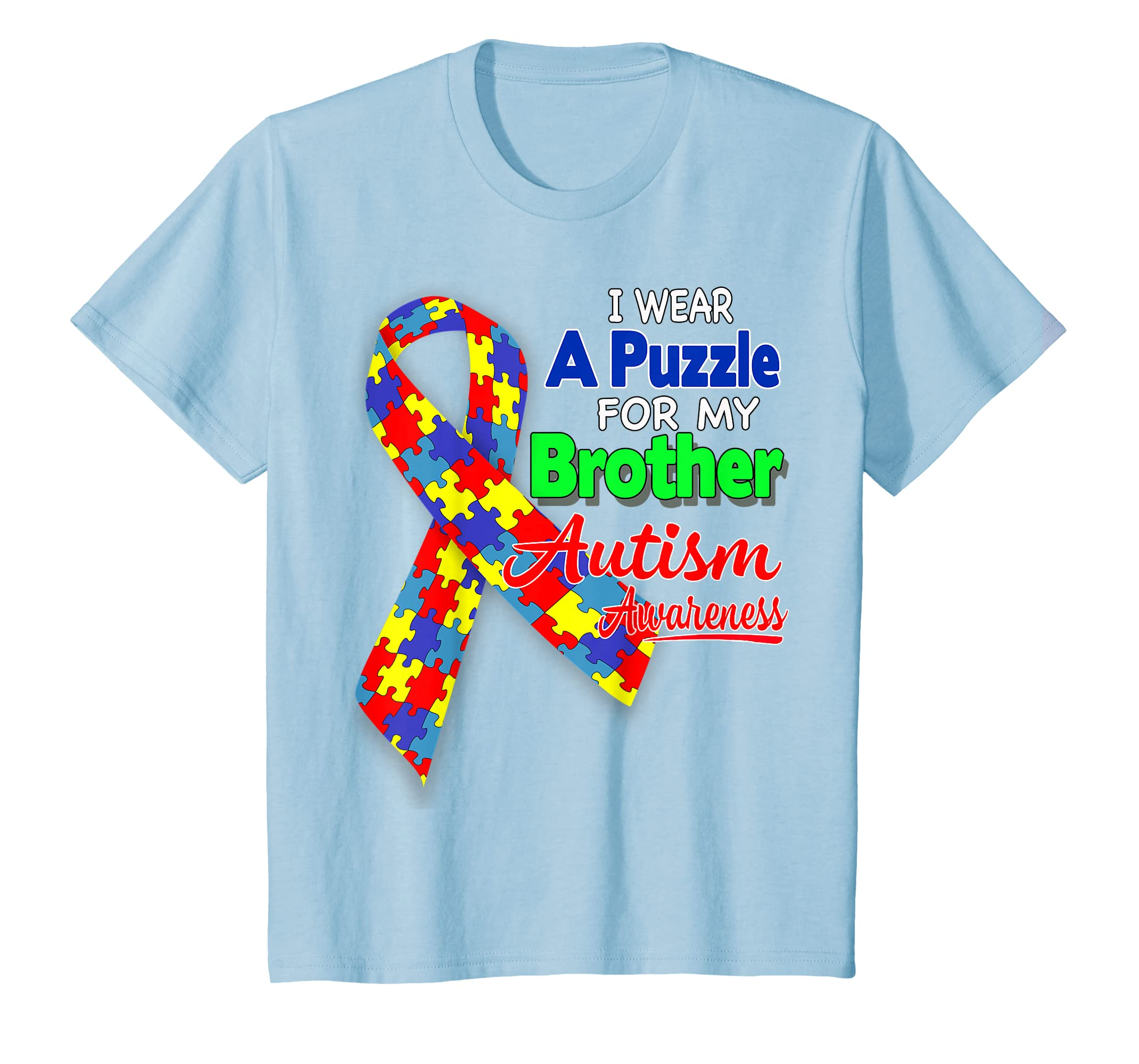 94e28f3b7 Amazon.com: I wear a Puzzle for my Brother - Autism Awareness shirt:  Clothing