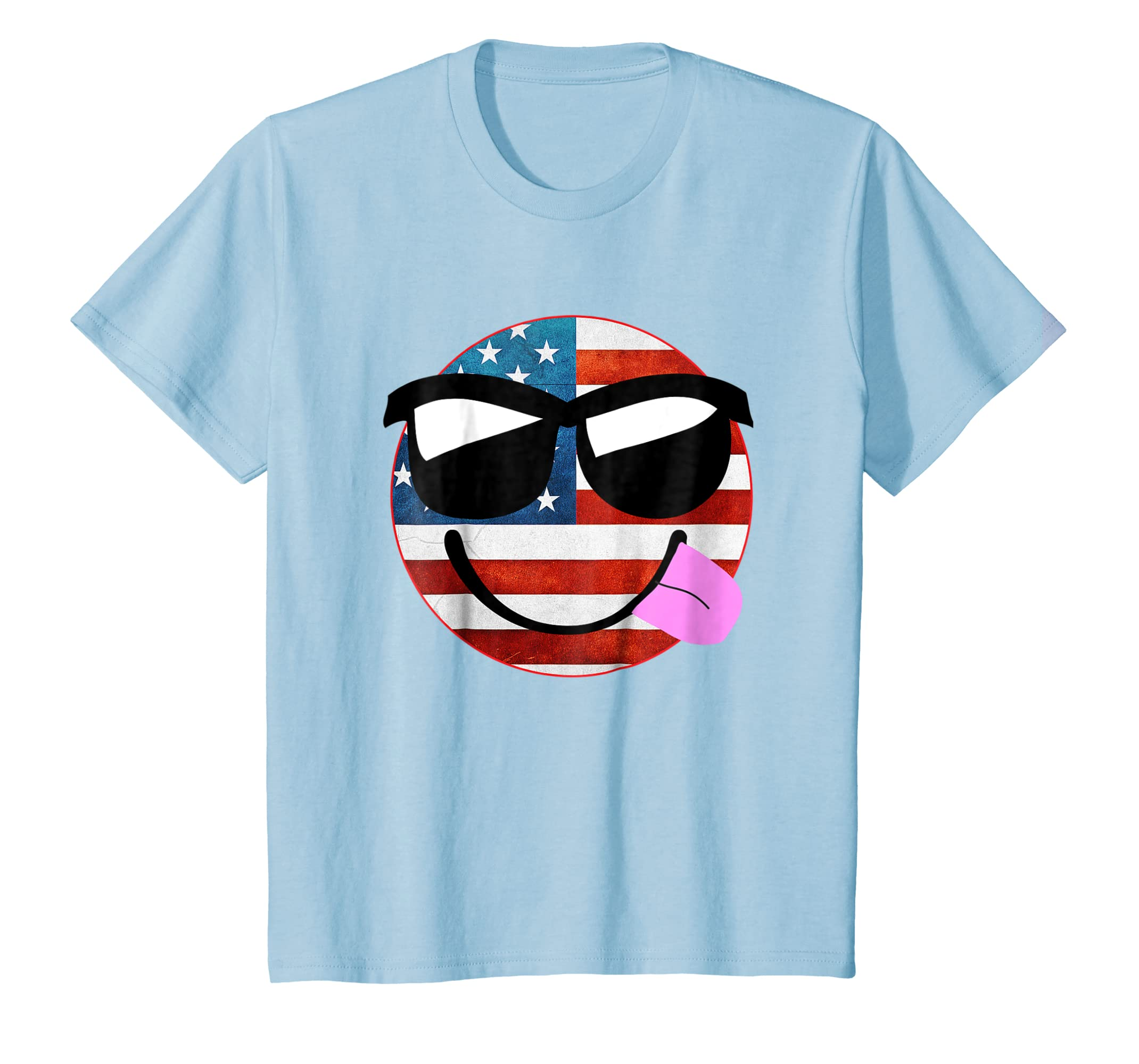 a3047f9ad6cd7 Amazon.com  Silly Sunglasses Patriotic Shirt Emoji US Flag Independence   Clothing