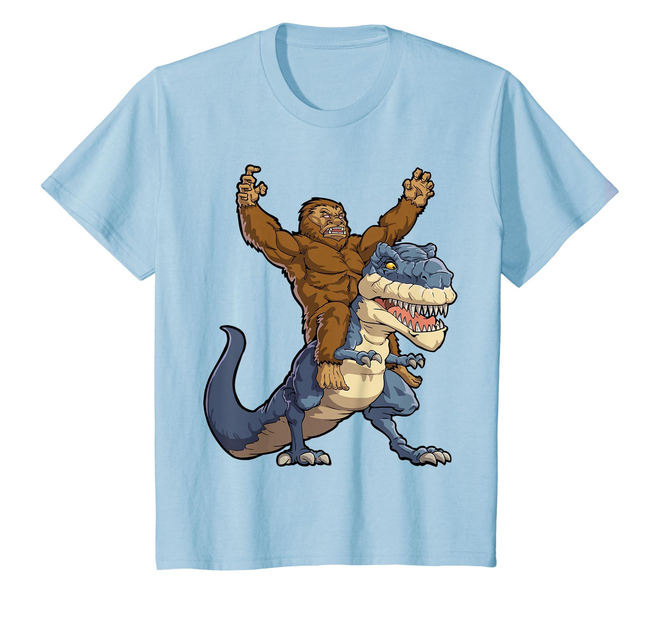 2da0d72d Amazon.com: Bigfoot Sasquatch Riding Dinosaur T rex T shirt Funny Gifts:  Clothing
