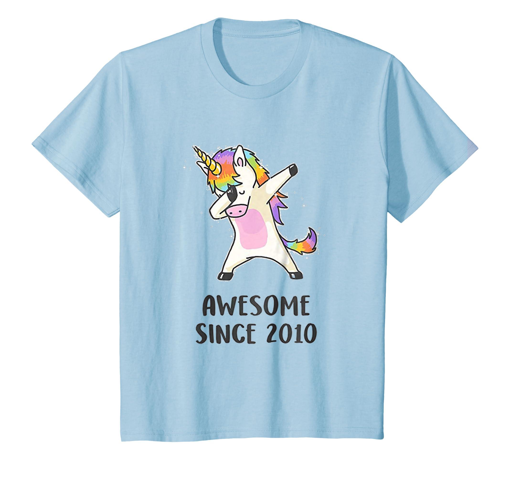 Dabbing Unicorn Shirt Awesome Since 2010 8th Birthday TShirt-Awarplus