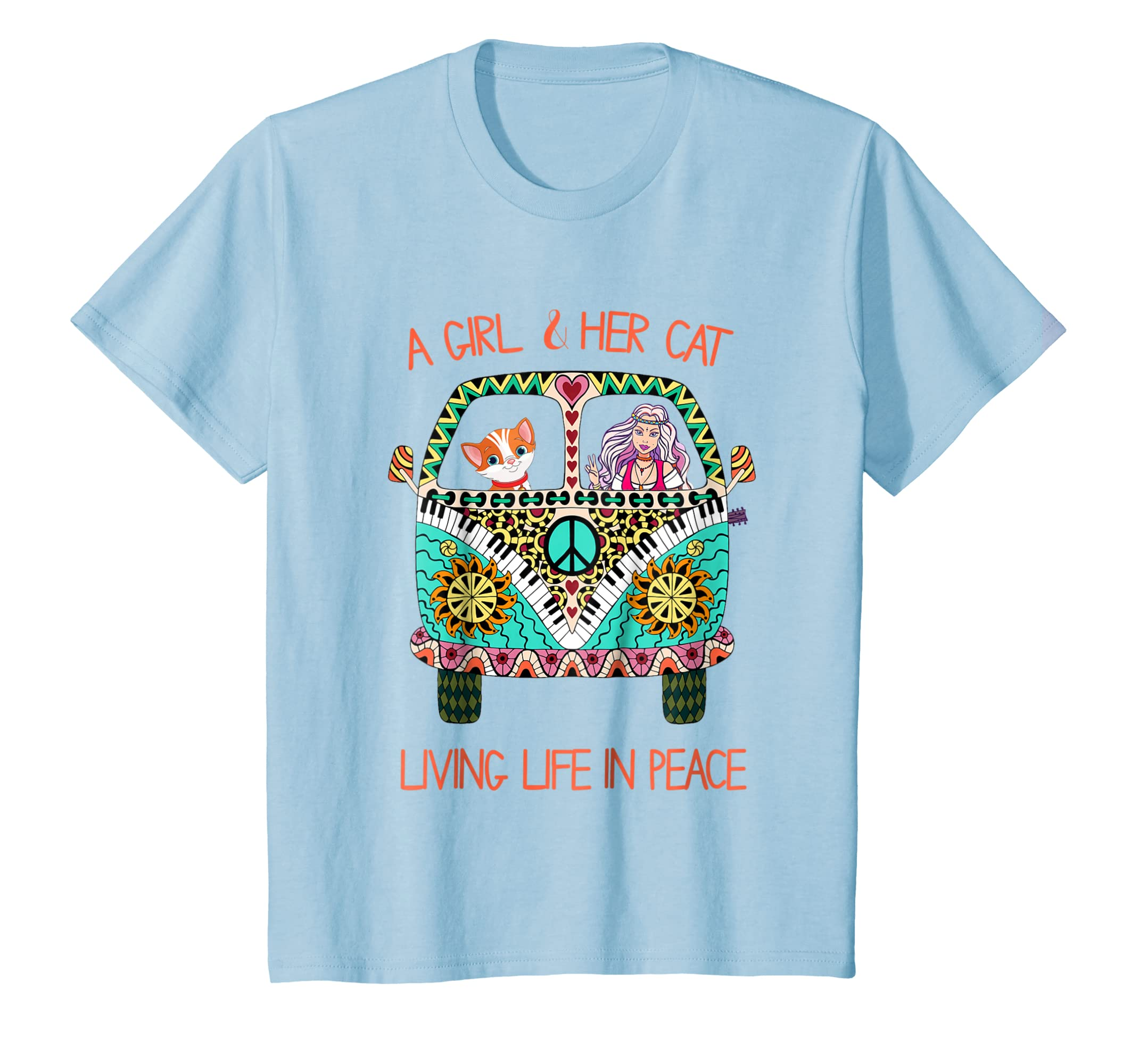 A Girl And Her Cat Living Life In Peace Cute Funny Shirt