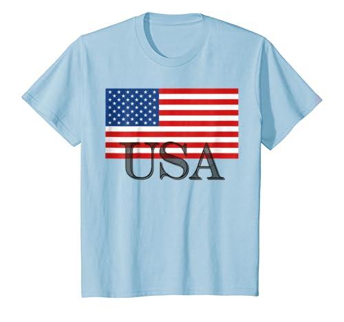 2c37619768f Amazon.com  Kids USA America American Flag T-shirt Boys Girls Youth Child   Clothing