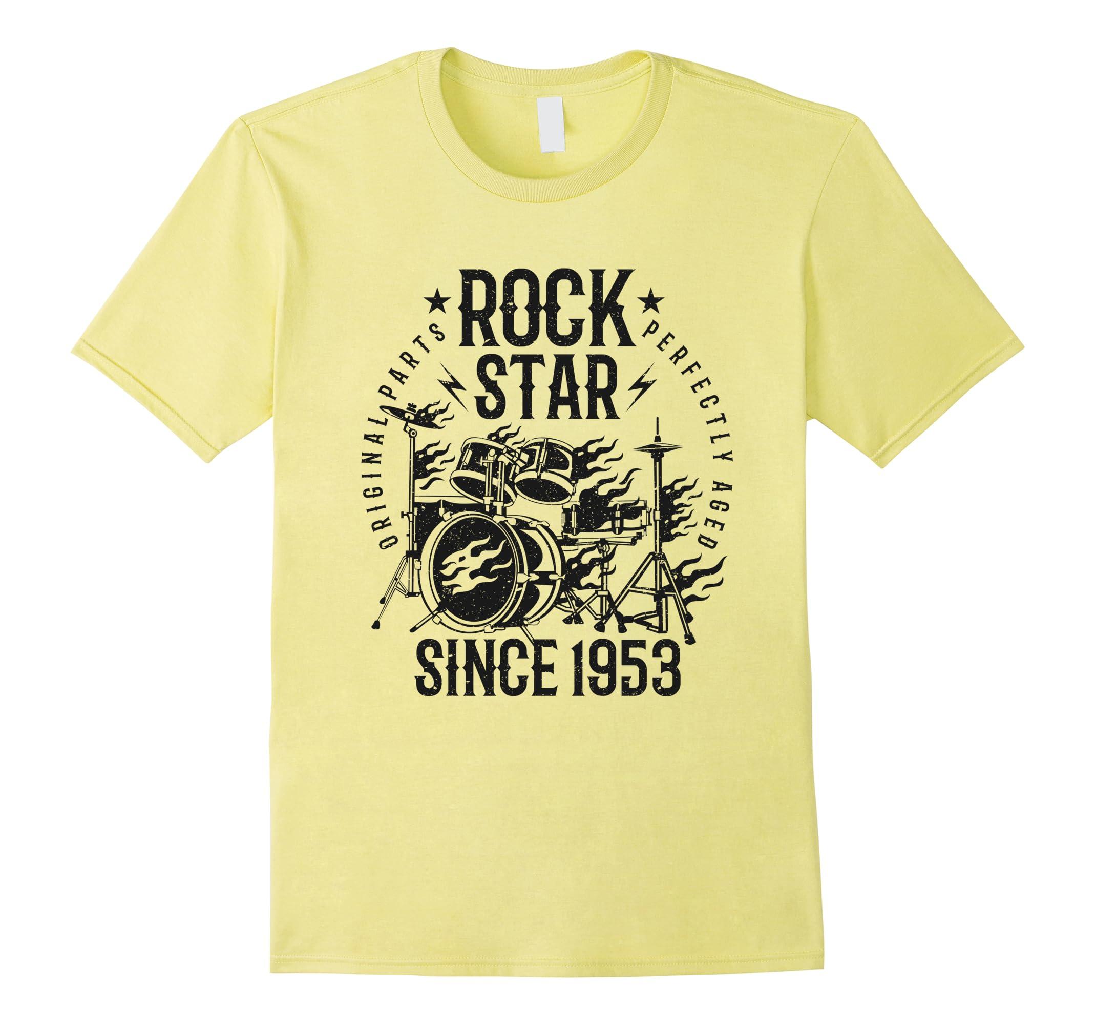 65th Birthday Gift T Shirt Rock Star Since 1953 Grey RT