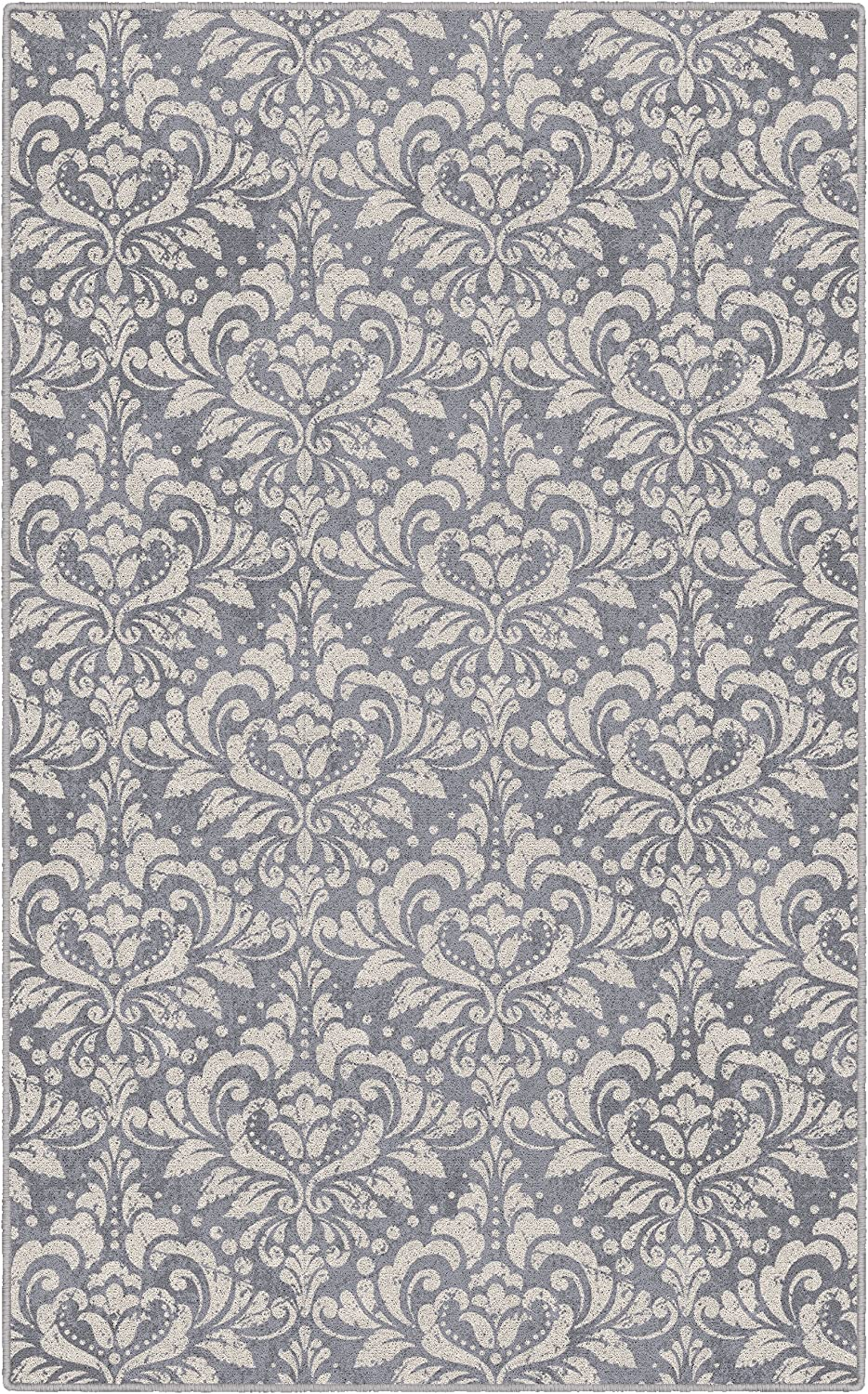 Brumlow Mills Antique Damask In Lilac Floral Pattern Area Rug for Bedroom, Living Room Decor, Dining, Kitchen Mat, or Entryway Rug, 5' x 8', Gray