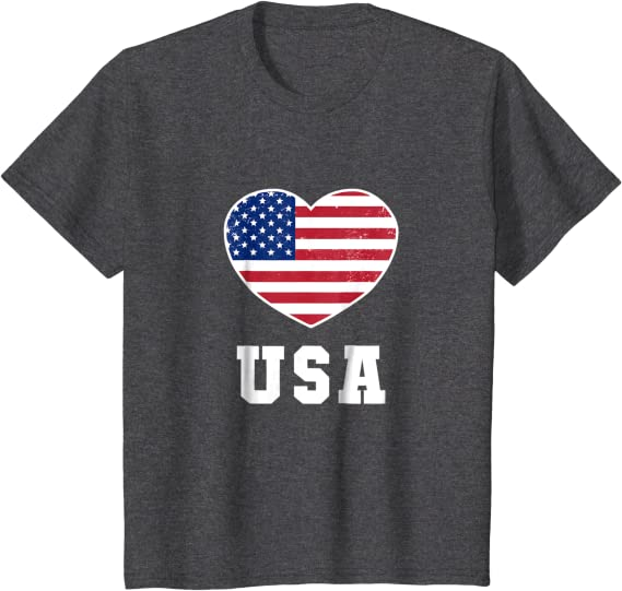 Love USA  4th of July American Heart Flag Youth Kids Long Sleeve T-Shirt Gift