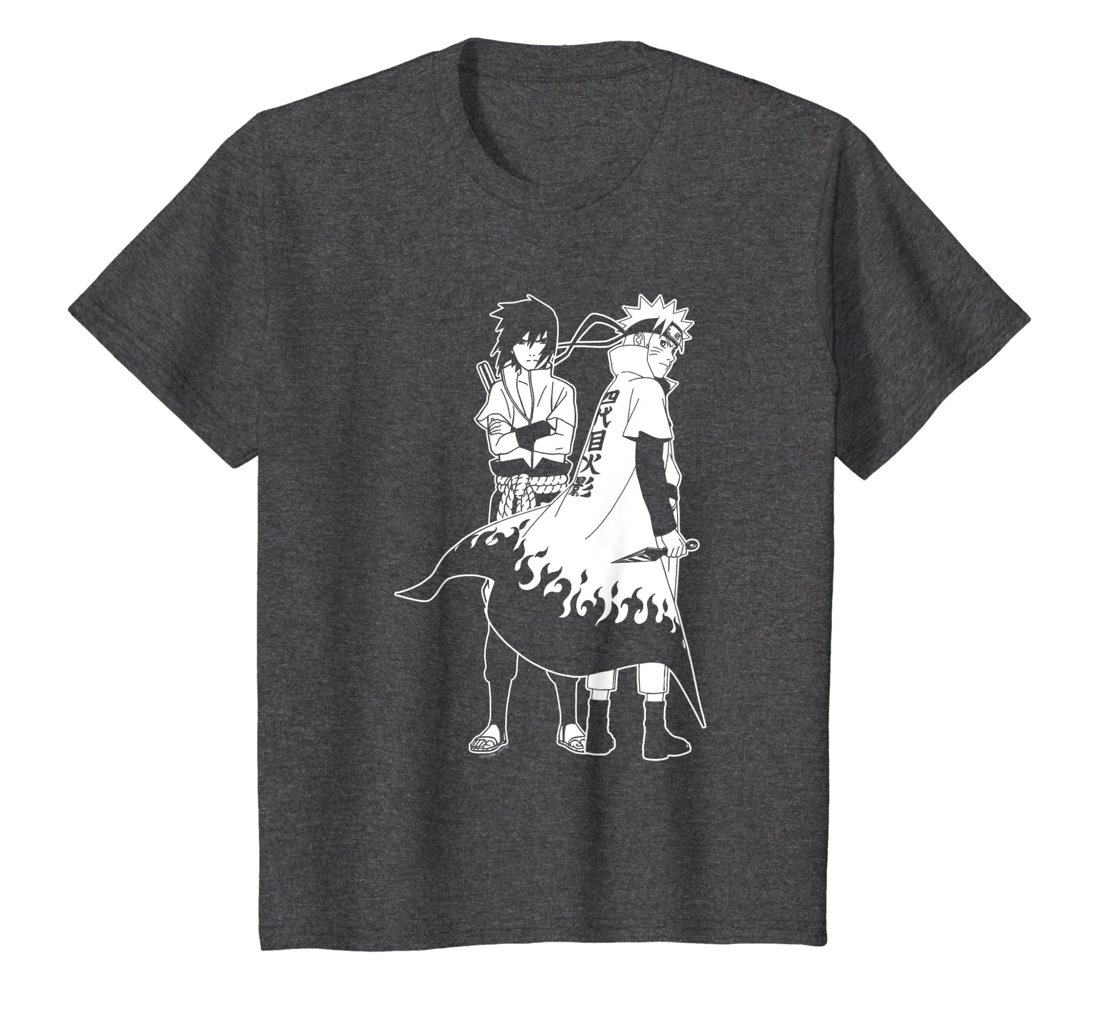 81228ff29 Amazon.com: Naruto Naruto and Sasuke Outline T-shirt: Clothing