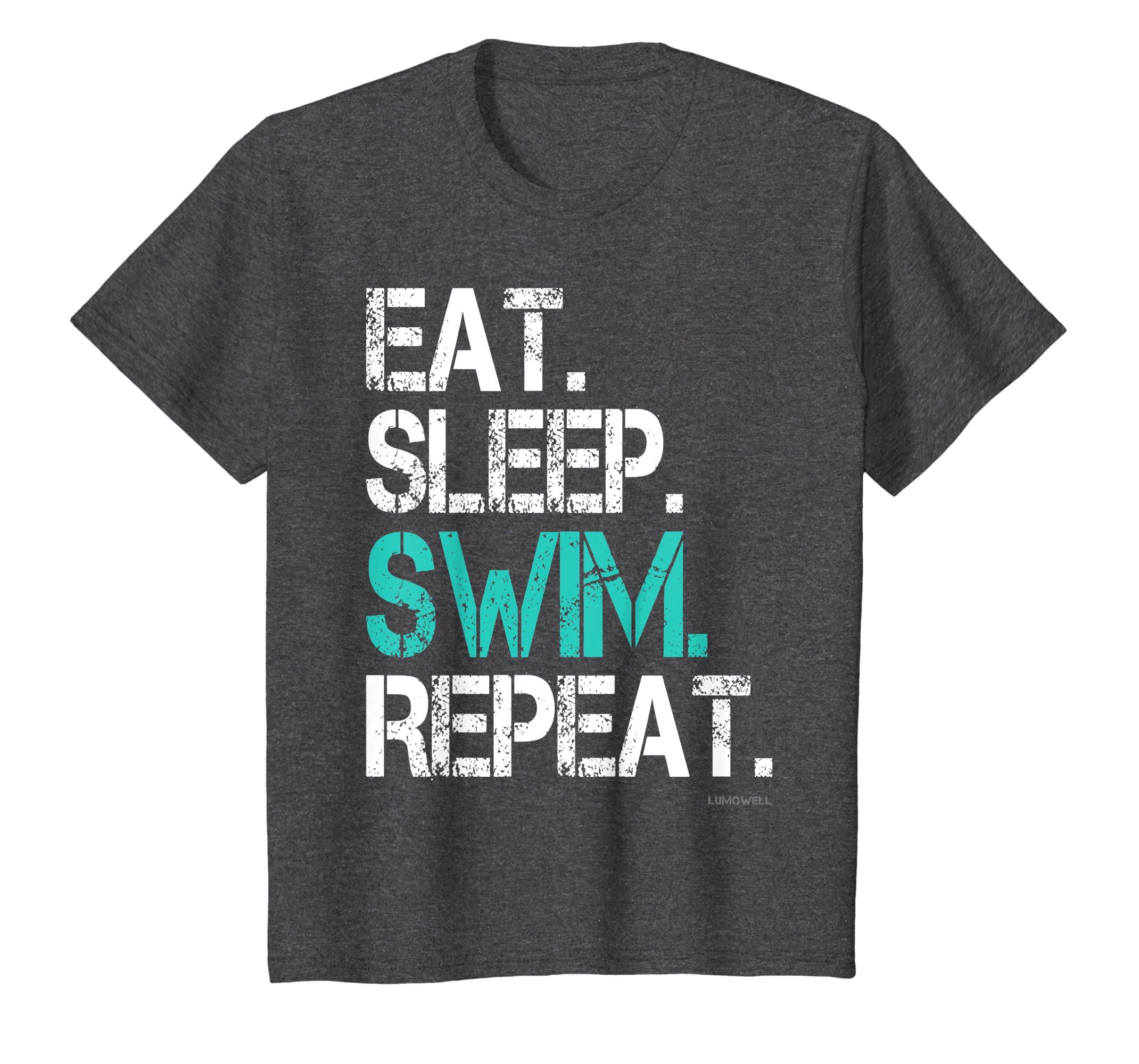 2ee20e3477 Amazon.com: Funny Swim T Shirts: Eat Sleep Swim Repeat Tshirt: Clothing
