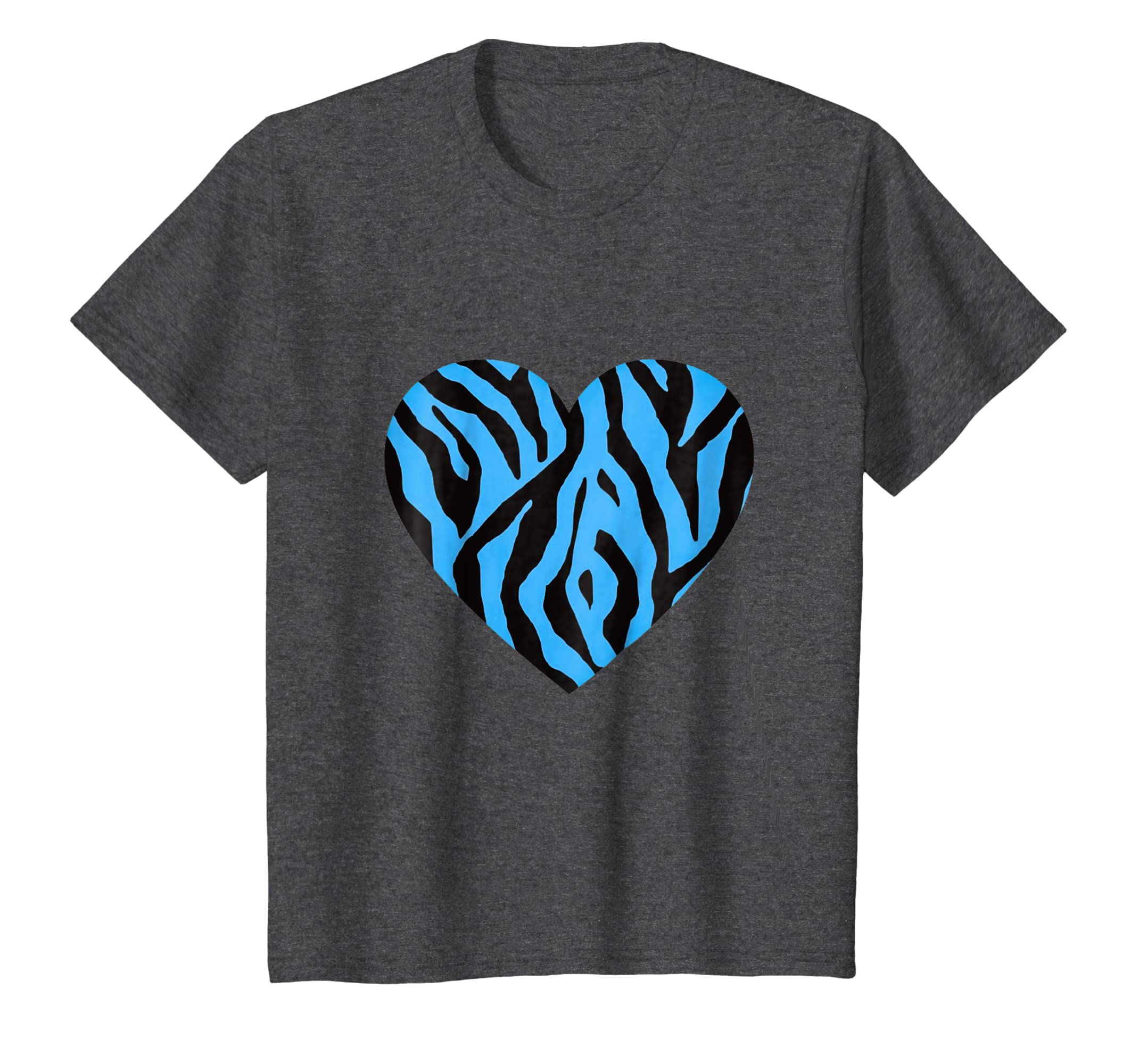 1dfc10ed15 Amazon.com  Zebra Stripe Heart t-shirt Blue Animal Print Design  Clothing