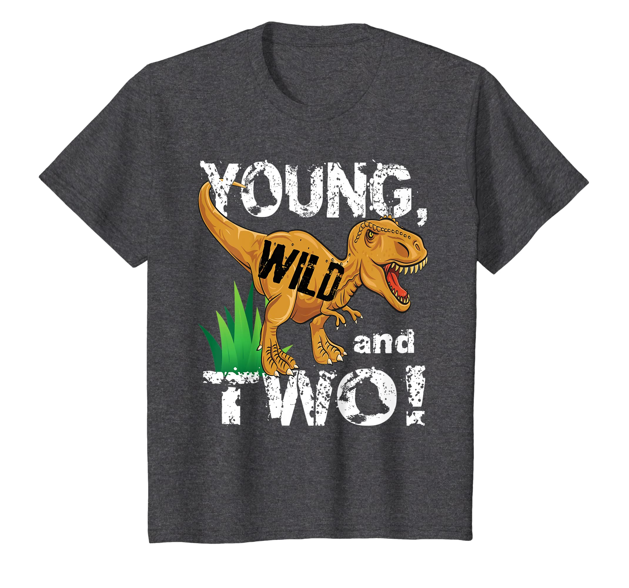 Amazon Kids Young Wild And Two 2 Year Old Dinosaur Birthday Shirt Boy Clothing