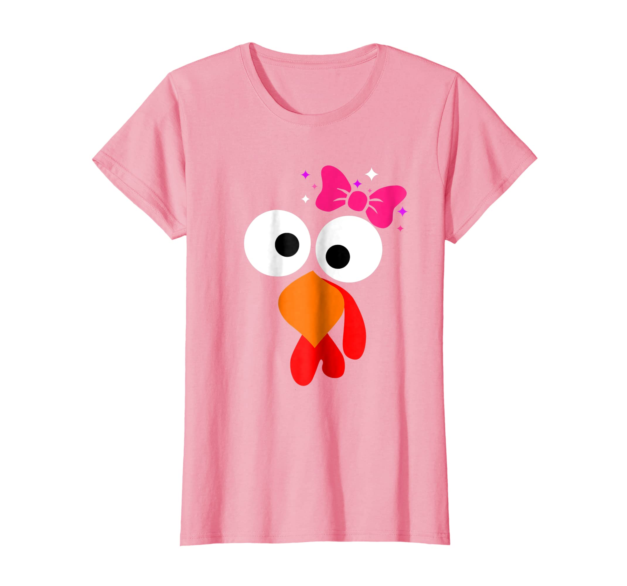 5aec766a Amazon.com: Thanksgiving TURKEY FACE pink bow tshirt for girls Halloween:  Clothing
